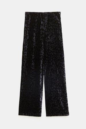 Zara Pallazzobroek zwart-antraciet Gemengd weefsel
