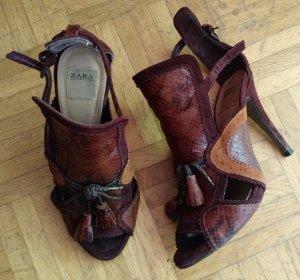 Zara Sandale braun Gr. 38 Sandalette High Heels blogger Sommer pumps schlange