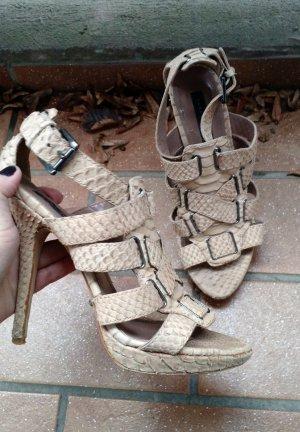 Zara Sandale Gr. 38 Sandalette schlange beige high heels reptil blogger