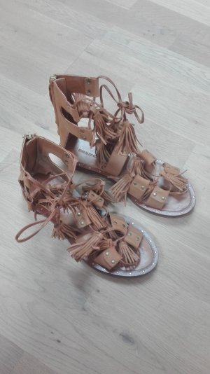 Zara Basic Roman Sandals cognac-coloured