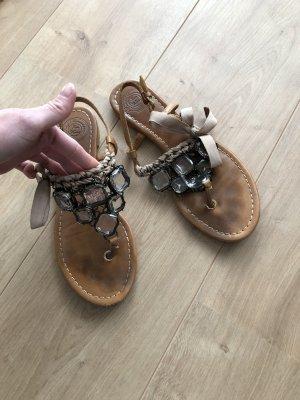 Zara Toe-Post sandals cognac-coloured