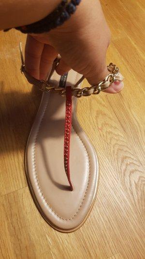 Zara Woman Sandalias de tacón con talón descubierto rojo oscuro