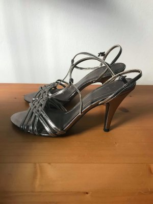Zara Strapped High-Heeled Sandals light grey-silver-colored leather