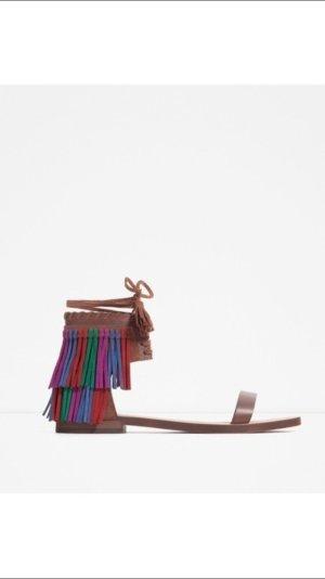 Zara sandalen mit fransen 38