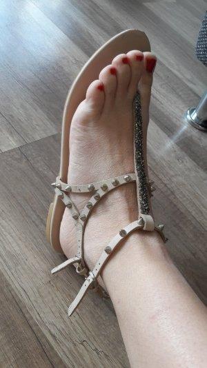 Zara Sandalen Sandale Sandalette Dianette Nude Silber Spikes Nieten