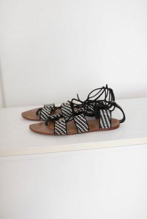 Zara Sandalen schwarz weiß zum Schnüren Gr. 38 Basic Blogger Boho Stil