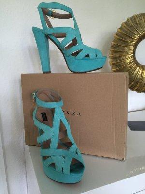 ZARA Sandaletten 36 in der Trendfarbe mint.