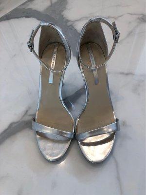 ZARA Sandaletten Absatz Gr. 39 Silber