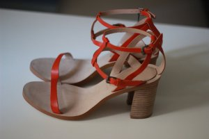 Zara Strapped High-Heeled Sandals orange leather