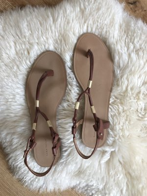 Zara Trafaluc High-Heeled Toe-Post Sandals brown