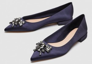 Zara Satin Ballerinas mit Strass Gr. 40 sold out