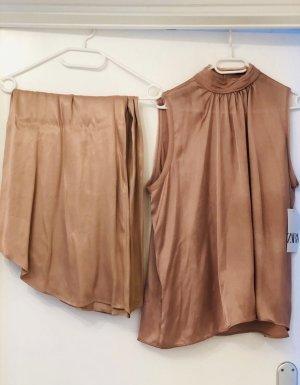 Zara Satin Co-Ord Set Culotte Hose & Bluse NEU