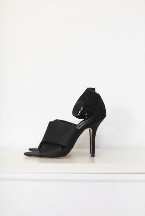 Zara Satin Pumps Heels Sandalen schwarz Gr. 38 Vintage Look