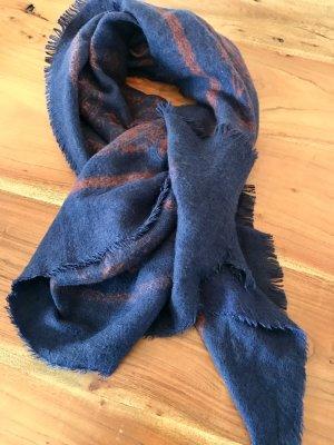 ZARA Schal blau/rostrot gemustert - kuschelig weich