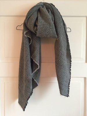 Zara Schal Groß Overzise Grau Schwarz Weiß weich winter Tuch XL Schal WIE NEU
