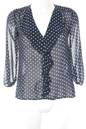 Zara Blouse à enfiler bleu foncé-blanc cassé motif de tache