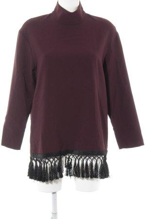 Zara Blusa caída púrpura-negro Patrón de tejido look casual