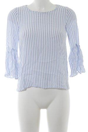 Zara Schlupf-Bluse weiß-himmelblau Streifenmuster Casual-Look