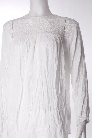Zara Blouse à enfiler blanc Aspect de combinaison de matériaux