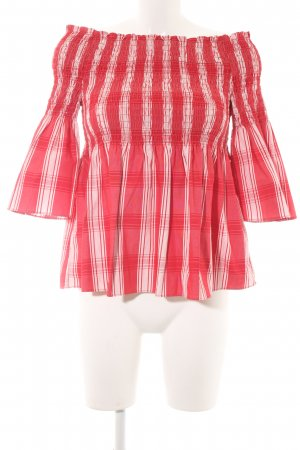 Zara Slip-over Blouse brick red-white striped pattern casual look