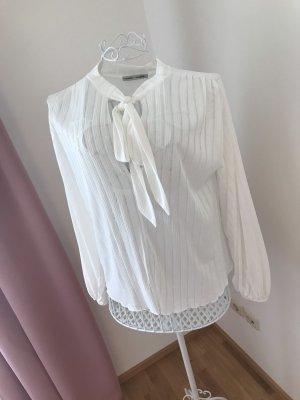 Zara Blusa collo a cravatta bianco Cotone