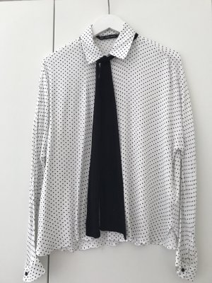 Zara Tie-neck Blouse white-black