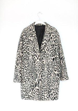Zara Schnee Leopard Mantel Coat Vintage 60s Stil schwarz weiß Gr. S