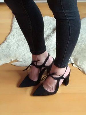 Zara Escarpins à lacets noir cuir