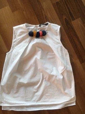 Zara Blusa sin mangas blanco Algodón