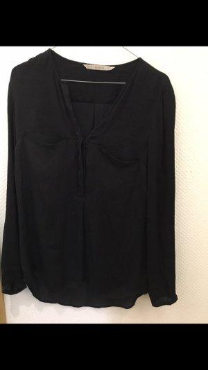 Zara schöne lange Bluse mit V-schnitt in schwarz
