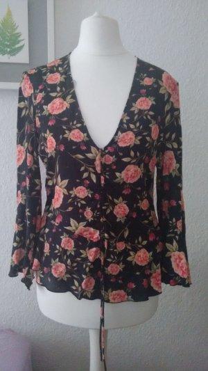 Zara Schößchen Bluse  Raffungen Rosen Blumen