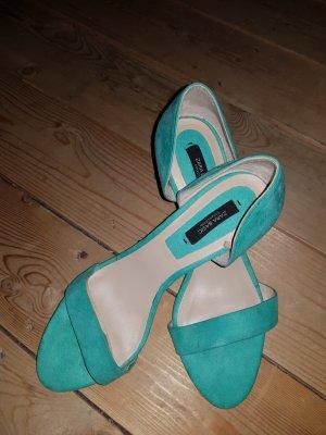 Zara Basic Sandalias de tacón con barra en T turquesa