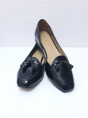 Zara Slippers black imitation leather