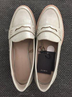 Zara Basic Mocasines blanco-beige claro Sintético