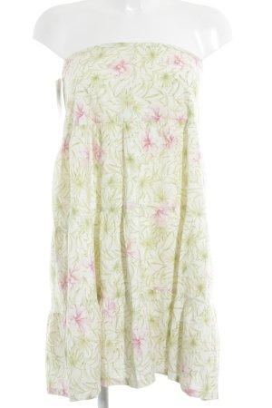 Zara schulterfreies Kleid blassgrün-rosa florales Muster Beach-Look