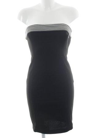 Zara schulterfreies Kleid schwarz-weiß Streifenmuster Casual-Look