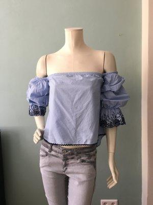 Zara Top sin hombros blanco-azul celeste