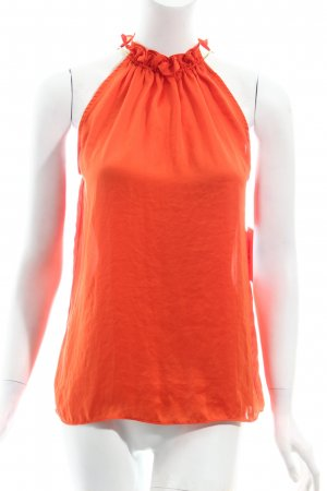 Zara schulterfreies Top orange Glanz-Optik