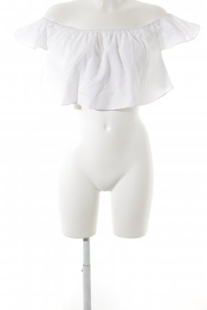 Zara schulterfreies Top weiß Romantik-Look