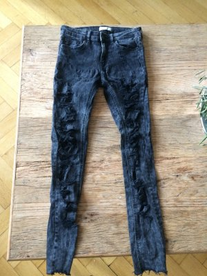 Zara schwarze Distressed Jeans 36