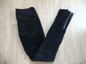 Zara schwarze Samtcord Hose