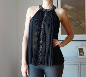Zara schwarze semi transparentes Top Oberteil Plissée Perlen Gr. 38 M