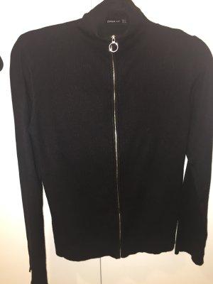 Zara schwarzer Viskose Cardigan mit Reißverschluss L (M) klassische Impressionen