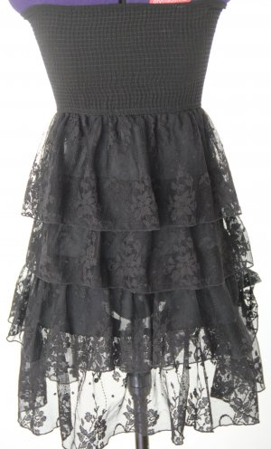 Zara schwarzes Abendkleid Cocktailkleid schulterfrei S neu