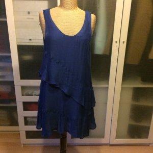 Zara Robe chemisier bleu soie