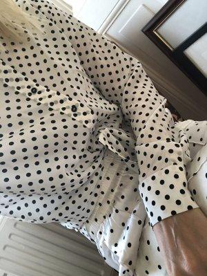 Zara Seidenbluse weiß mit schwarzen Punkten Bluse aus Seide
