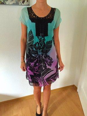 Zara Seidenkleid mit Stickerei Gr. S inkl. Unterkleid