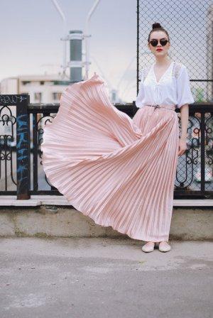 Zara seidiger maxi rock bodenlang super Qualität neu rosa nude xs