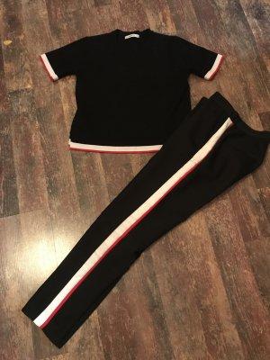 Zara Set Hose Shirt Top Schwarz mit Weiß/Rot Streifen Gr. 36 Top