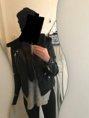 Zara Shearling Aviator Lederjacke Biker Fell Too Blogger Military